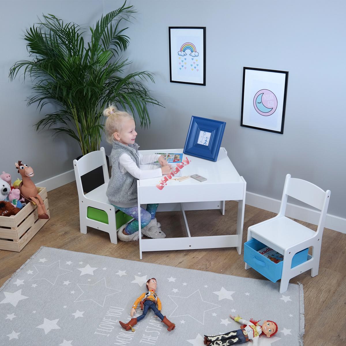 c79ccde52756 Ourbaby detský stôl so stoličkami s modrým a zeleným boxom - banaby.sk