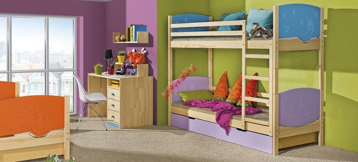 75806e9d76bc Detská poschodová rozkladacia posteľ Trio borovica - banaby.sk