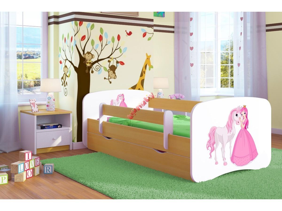 34432647fdb0f OURBABY detská posteľ so zábranou - princezná s koníkom - buk ...