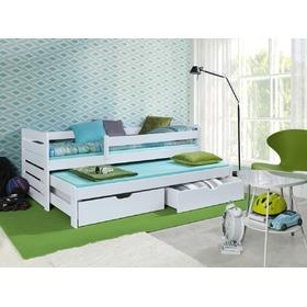 58f347d736bc3 -6% Detská posteľ s prístelkou a zábranou Praktik White, ...